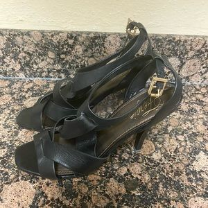 "Fergie Black Leather ""Maxim"" Sandals Size 10M"